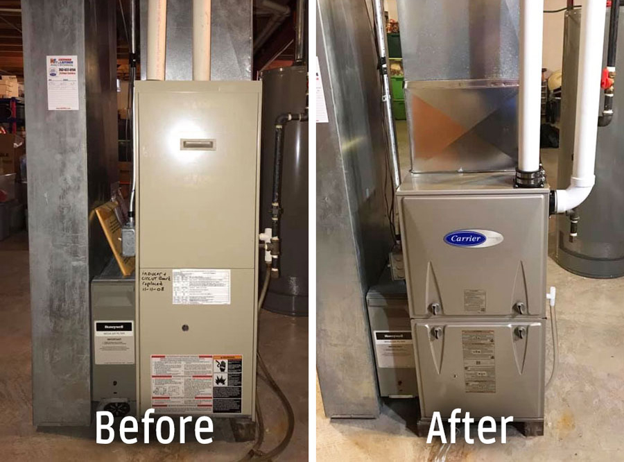 comparison photo of an old furnace next to a newly installed Carrier Furnace